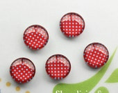 20% OFF SALE - 25mm Glass Cabochon, 8mm 12mm 10mm 14mm 16mm 18mm 20mm 30mm Red Polka Dots Photo Glass Dome -- BCH257H