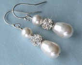 Wedding Earrings - Rhinestone Fireball and Teardrop Pearl Earrings in White or Ivory - Crystal and Pearl Bridal Jewelry - Wedding Jewelry