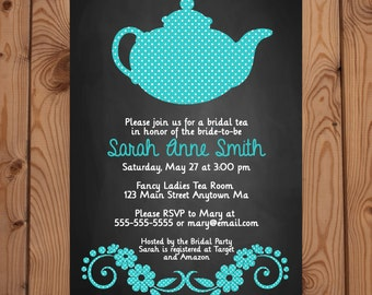 Bridal Shower Tea Party Invitation -  Turquoise Tea Party Invitation - Bridal Shower Invitation - Digital Invitation - Printable Invitation