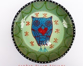 Ceramic Black Blue Owl XO Heart Bowl Love is in the Air Valentine's Day by Sharon Bloom