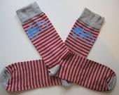 Cycle Socks - Red and grey stripe and sky blue printed bike