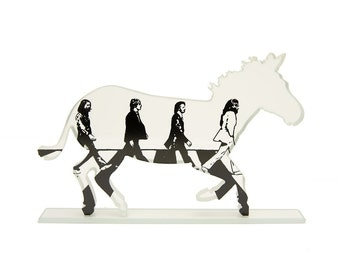 Abbey Road Zebra Glass Sculpture Beatle Crossing Screen Print