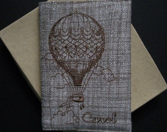 Custom Embroidered Passport Holder with Hot Air Balloon Design, Optional Name or Intials & Gift Box