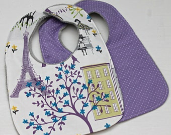 Choose Set of 2 Bibs for a Burp Cloth and Bib In Paris In Purple, Baby Shower Gift, New Mom Gift