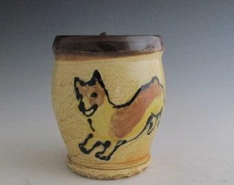 Large mug with slip trailed Dog Welsh Corgi