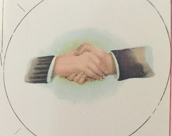 Antique Lithograph Celluloid Pinback Fraternal Handshake  Design  New Old Stock  Estate Collection Group