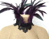 Maleficent costume necklace - purple feather choker - custom feather necklace - witchy cosplay choker - purple coque teardrop