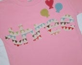 Girls THREE shirt for 3rd Birthday - size 4 long sleeve shirt - Bunting letters and balloons