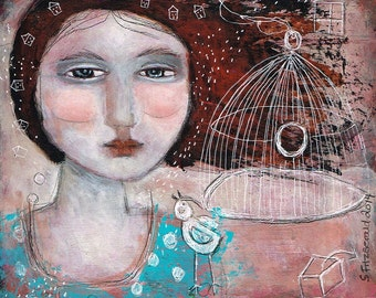 SALE  SPECIAL PRICE!! Free Shipping Mixed media painting print woman bird cage free yourself friend