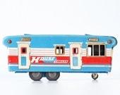 Vintage House Trailer Camper, SSS Japan Truck, Red, White and Blue