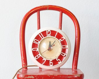 Vintage Wall Clock, Red and White Telechron Clock
