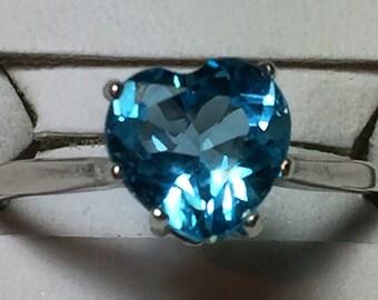Sky blue Topaz heart ring in silver