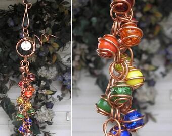 Rainbow Wind Chimes - Copper & Glass - Metal Garden Sculpture / Gypsy Window Art Suncatcher Lawn Pond Outdoor Yard