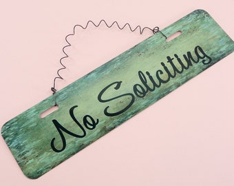NO SOLICITING Sign Metal Wire Cute Home Decor Entryway Front Door Breezway Porch No Selling Wreath Decoration 12in x 3in