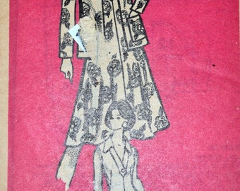 Vintage 1970's Mail Order Sewing Pattern 9302 Misses' Dress and Jacket Bust 38 inches UNCUT