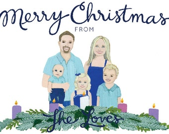 Custom Christmas Card - Custom Christmas Card Portrait - Custom Family Portrait - Personalized Christmas Card - Advent Wreath Christmas Card