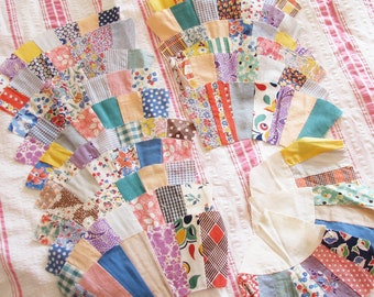 Charming & Cheerful...Vintage 1930s-1940s Fan Shape Patchwork Quilt Blocks