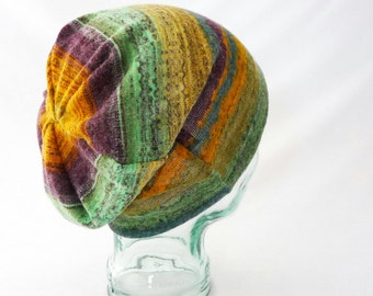Colorful Slouchy Hat : Womens Hats, Mens Hats, Boho Hat, Fall Fashion, Purple, Green, Yellow, Gift for Her, Comfy Hat, Cozy Hat, Rainbow