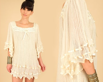 Vintage GAUZE Tunic 70's Cream Gauzy Cotton Angel Wing Tunic Dress // Bell Sleeve // Boho Hippie Festival Goddess Blouse Shirt Mini s/m/l/xl