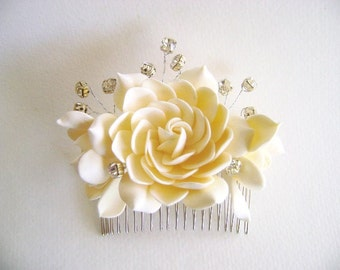 Dark Ivory Champagne Gardenia hair Comb Bridal Hair Accessories Wedding Hair Fascinator Bridal Hair Flower