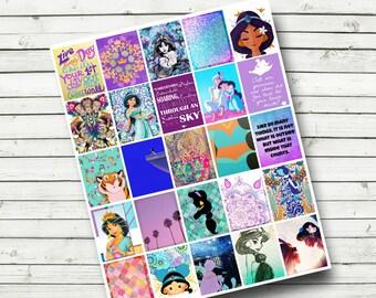 Disney Princess Jasmine Planner Printable Sticker Sheet - Jasmine Sticker Sheet - DIY Print at Home-fits Erin Condren Life Planner, 1.9x1.5