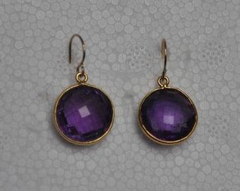 Amethyst Earrings, Gold Earrings, Dangle earrings, Gemstone earrings, Purple Earrings, Amethyst Jewelry, Gemstone Jewelry