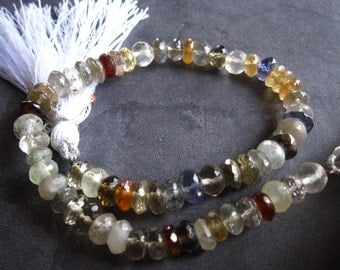 Mixed semiprecious gemstone strand - Orphan bead strand - 8 inches graduated size faceted rondelles
