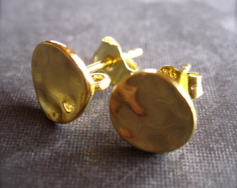 Curvy Hammered Simple - Vermeil - earring posts - 8mm