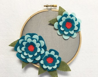 Fabric Wall Art, Embroidery Hoop Art, Teal Petals, Nursery Decoration, Floral Wall Decor, Hoop Wall Hanging, Felt Flower Hoop, Coworker gift