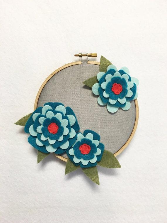 Fabric Wall Art, Embroidery Hoop Art, Teal Petals, Nursery Decoration, Floral Wall Decor, Hoop Wall Hanging, Felt Flower Hoop, Coworker gift