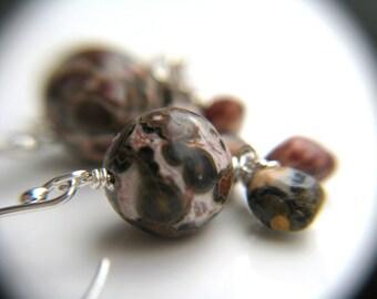 Planet Earrings . Astronomy Earrings . Science Teacher Gift . Leopard Skin Jasper Earrings Sterling Silver - Owl Head Collection