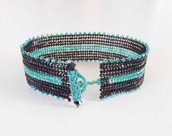 cuff bracelet,black and aqua green beaded cuff bracelet,unique black cuff bracelet,bead cuff bangle,simple contemporary cuff bracelet