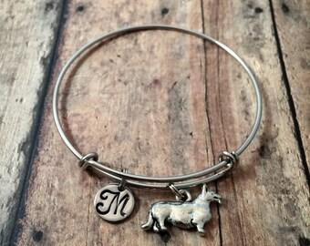Corgi initial bangle - Corgi jewelry, dog breed bracelet, Corgi dog bangle, Welsh corgi jewelry, dog breed jewelry, silver Corgi bracelet