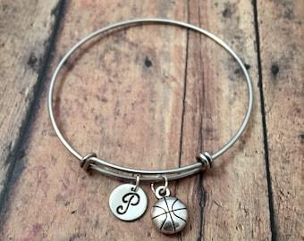 Basketball initial bangle - basketball jewelry, sports jewelry, basketball player gift, bball jewelry, basketball initial bracelet