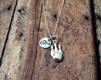 Bowling pins initial necklace - bowling jewelry, gift for bowler, bowling pin jewelry, ten pin necklace, silver bowling necklace