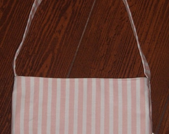 light pink and white stripe toddler purse