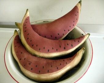 Primitive Watermelon ornie bowl filler tuck