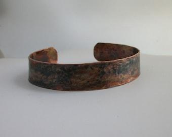 Rustic Copper Bracelet, copper jewelry - hammered copper cuff bracelet - rustic jewelry - Medium