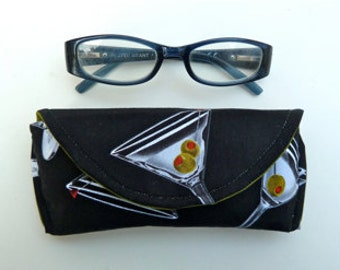 Reading Eyeglass Case - Sunglass Case - Magnetic Closure - Martini