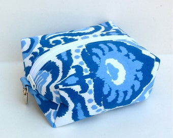 Blue White Ikat Boxy Pouch Cosmetic Bag Makeup Bag Zippered Pouch Travel Pouch Hanging Toiletry Bag