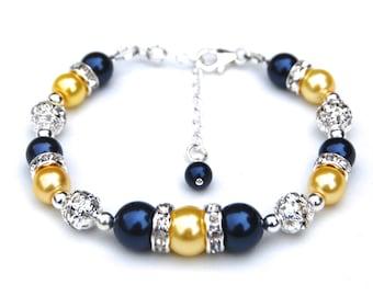 Navy Yellow Pearl Bracelet, Bridesmaid Jewelry, Navy Wedding, Nautical Wedding, Bridesmaid Bracelets, Bling Jewelry