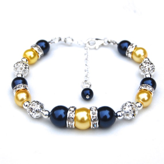 Navy and Yellow Pearl Bracelet, Bridesmaid Jewelry, Navy Wedding, Nautical Wedding, Bridesmaid Bracelets, Bling Jewelry
