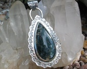 Moss Agate Pendant, Teardrop, Sterling Silver, Stamped, Green, Natural Stone Jewelry