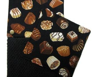 GET A GRIP Jar Gripper, and matching Snap Top Towel, Chocolates on black, Set