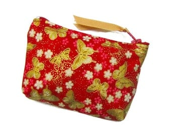 Coin purse, Small coin purse, Small zippered coin purse, Zipper coin purse, Wallet, Gold butterflies on red