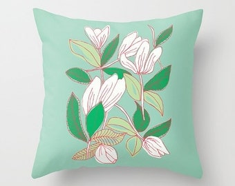 Floating Tulips decorative pillow cover- mint green and white- floral design- spring tulips- pretty home decor- modern flowers design