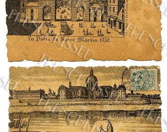 Antique Old World Paris in the 1700s 2 Sepia Scenes Digital Downloads