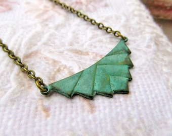 Green necklace Geometric jewelry patina necklace Pendant Jewelry gift
