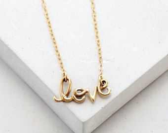Love Sign Necklace | Cursive Word Necklace | Valentines Day Gift | Sweetheart Necklace | Wedding Jewelry | Silver or Gold
