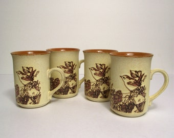 Ashdale Pottery Products Four Coffee Mugs Stoneware Bird Bunny Butterfly Prairie England